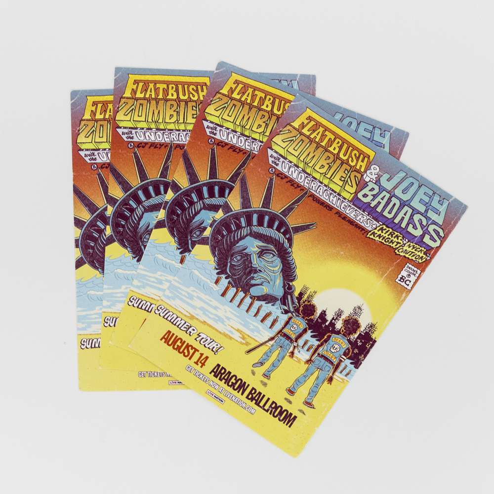 Image of check stuffers for a music performance featuring an illustration of the statue of liberty underwater.