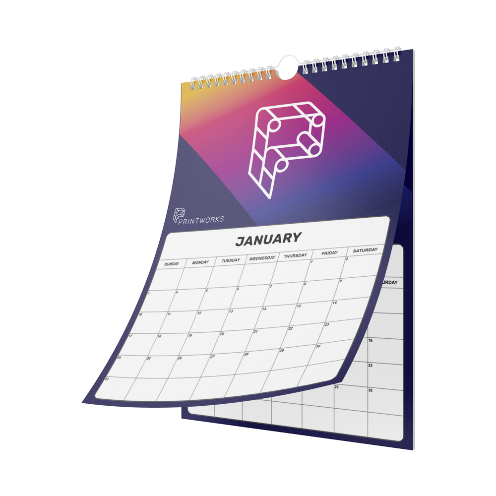 Image of a wall calendar, custom printed with the Printworks logo