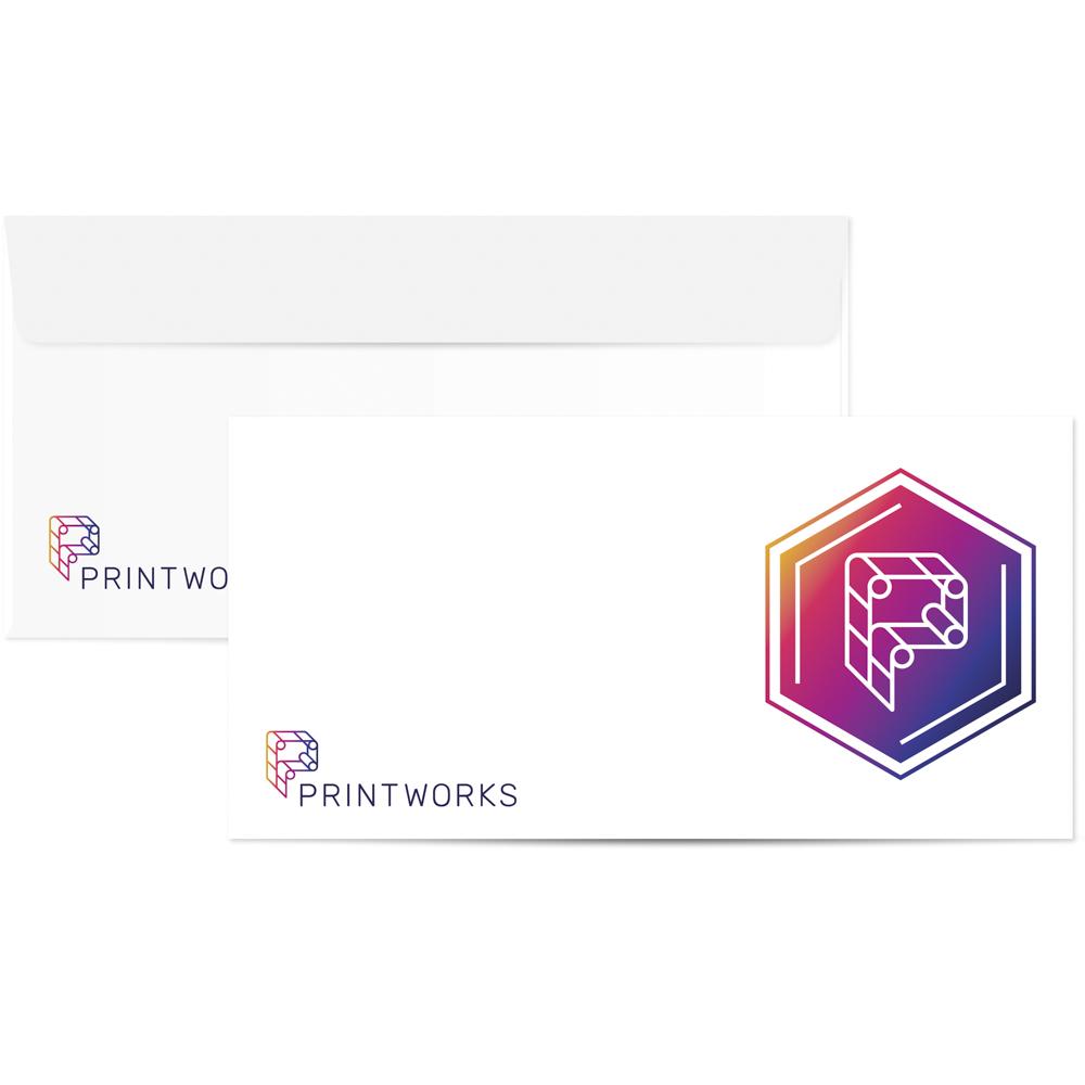 Image of a custom printed envelope with Printworks branding