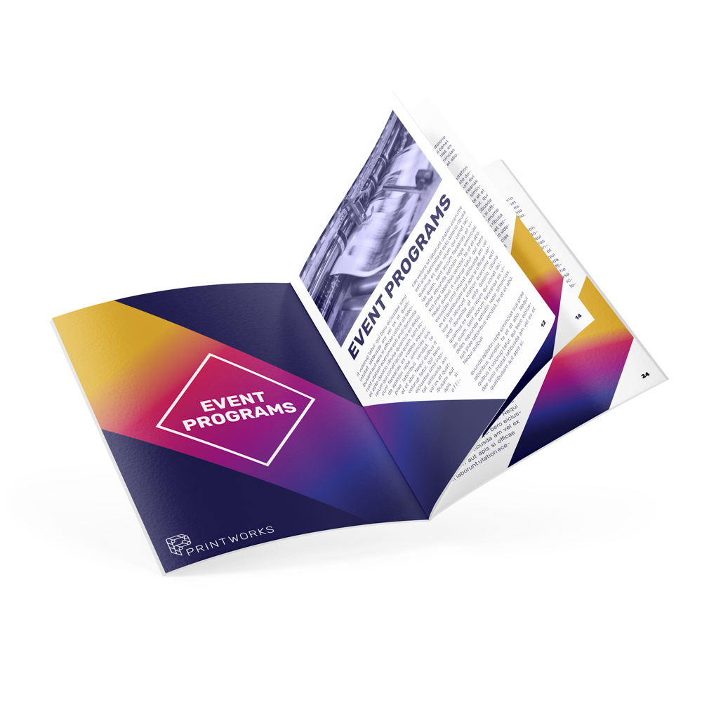 Image of an open booklet with text and Printworks branding, meant as an event program