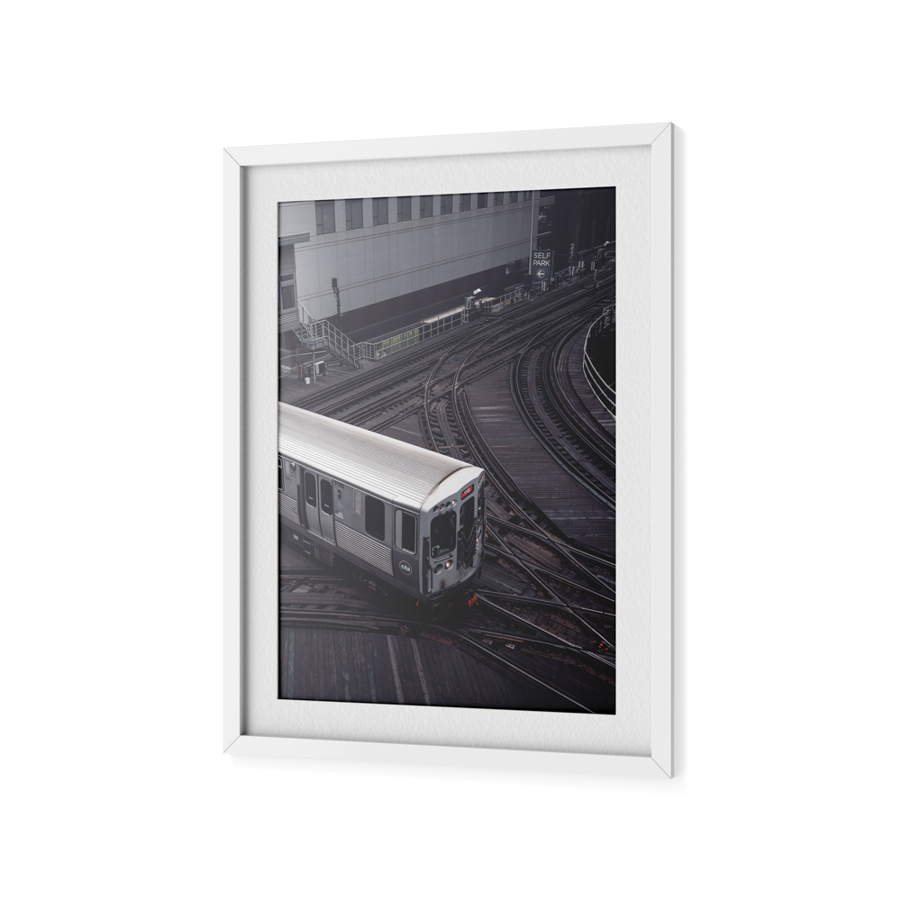 framed art print of a CTA train.