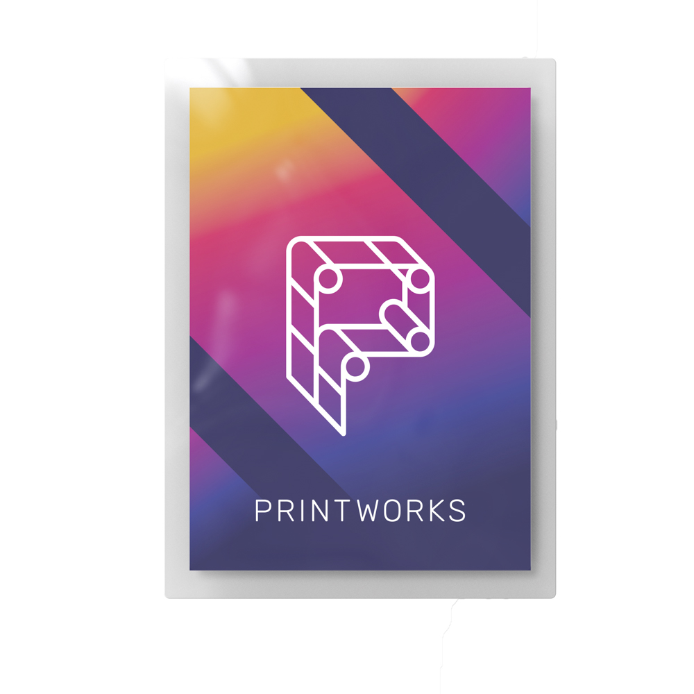 Image of a glossy, laminated poster, feature Printworks branding