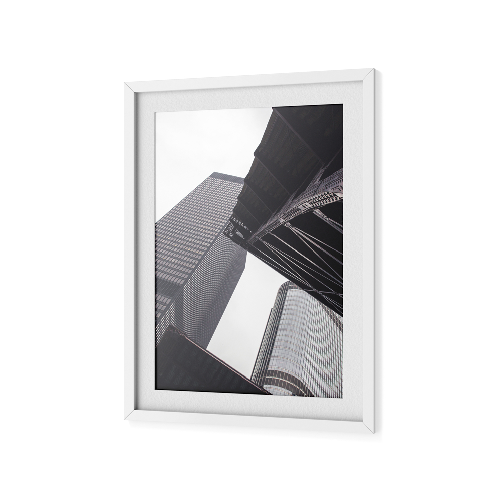 Image of a large framed photo of Chicago building