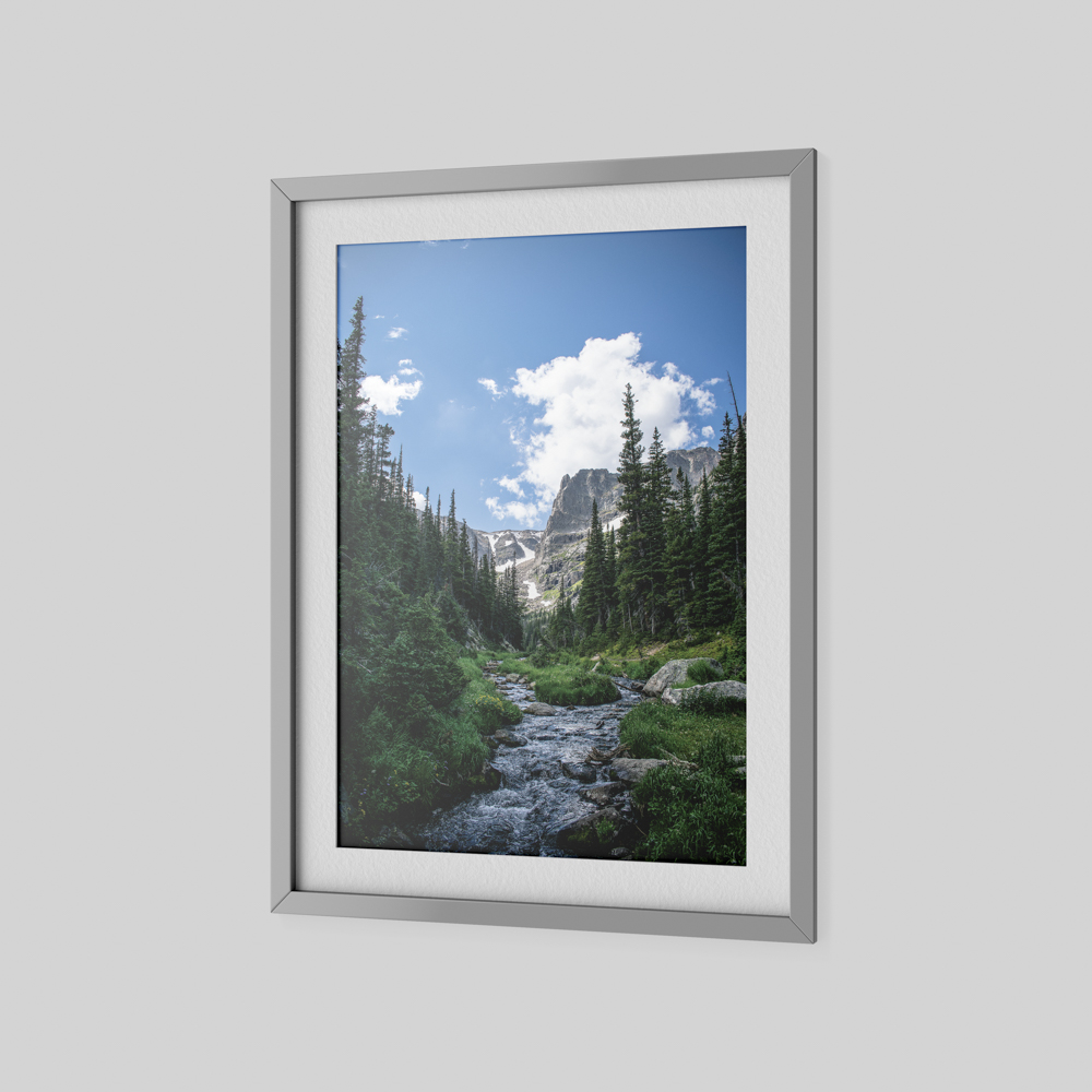 Large photo of a stream in the wilderness with trees in the background.