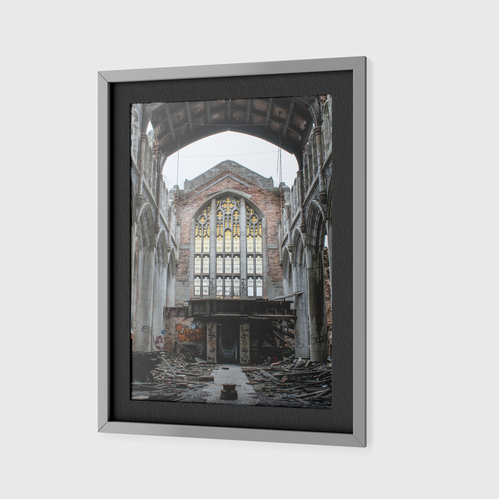 Large photo of an abandoned church.