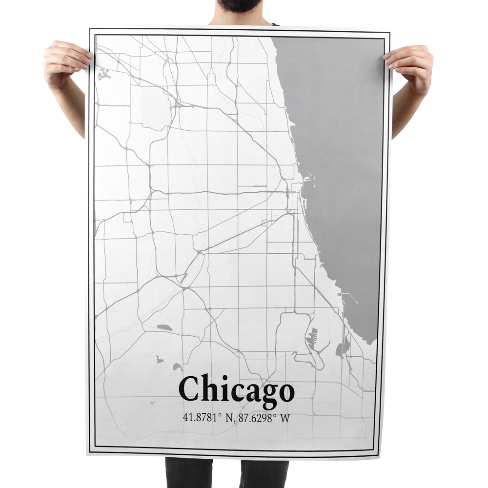 Large poster of a street map of Chicago.