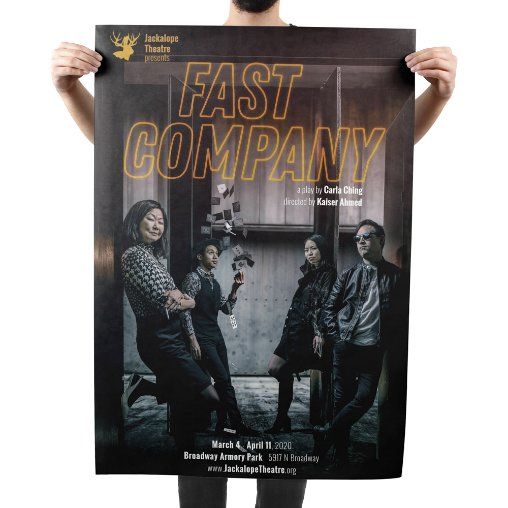 Large poster for a theatre production, featuring a photo of the cast.