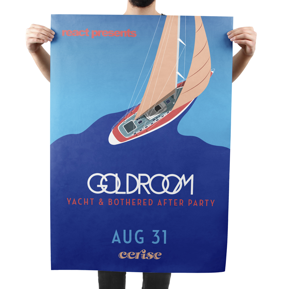 Large poster featuring an illustration of a sailboat in water.