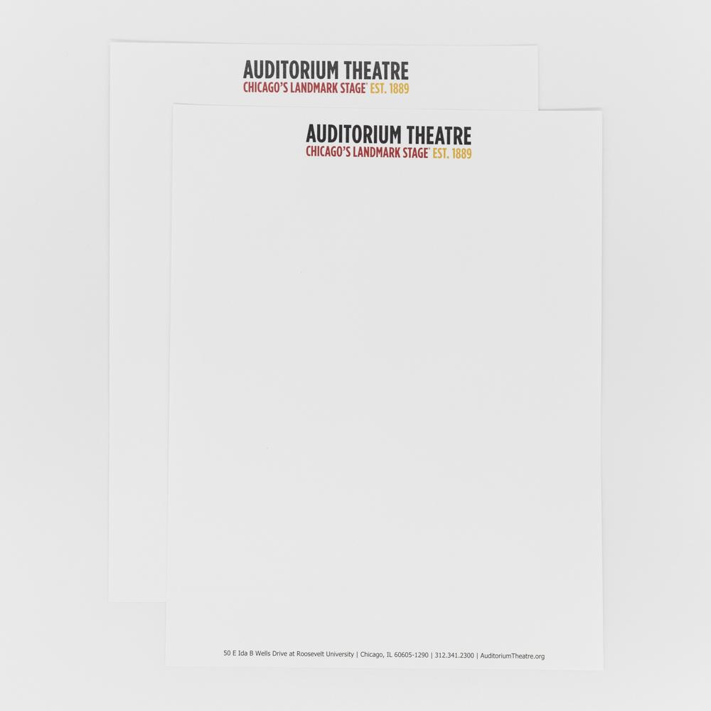 Letterhead featuring Auditorium Theatre logo.