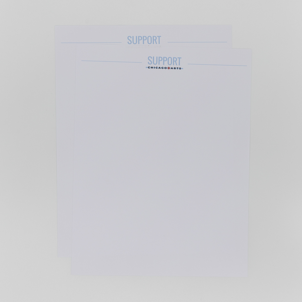 Letterhead featuring Support Chicago Arts logo.