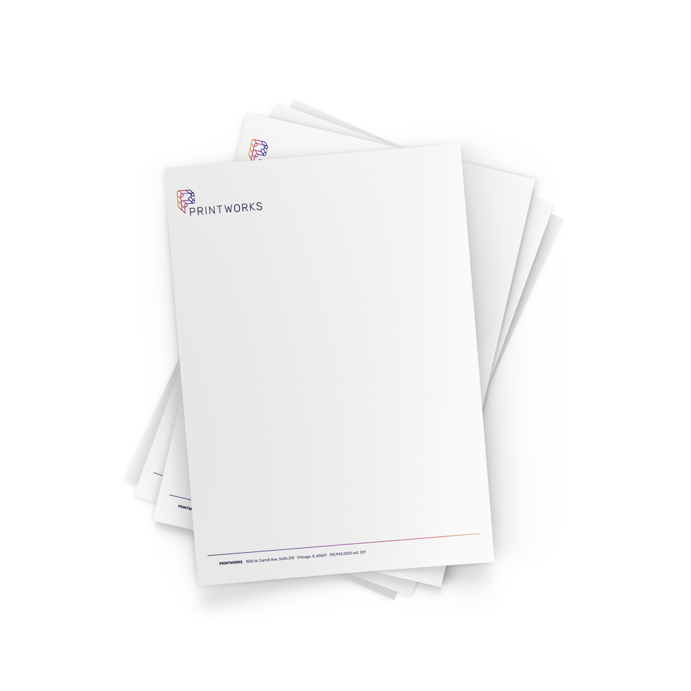 Image of a stack of papers with a Printworks letterhead