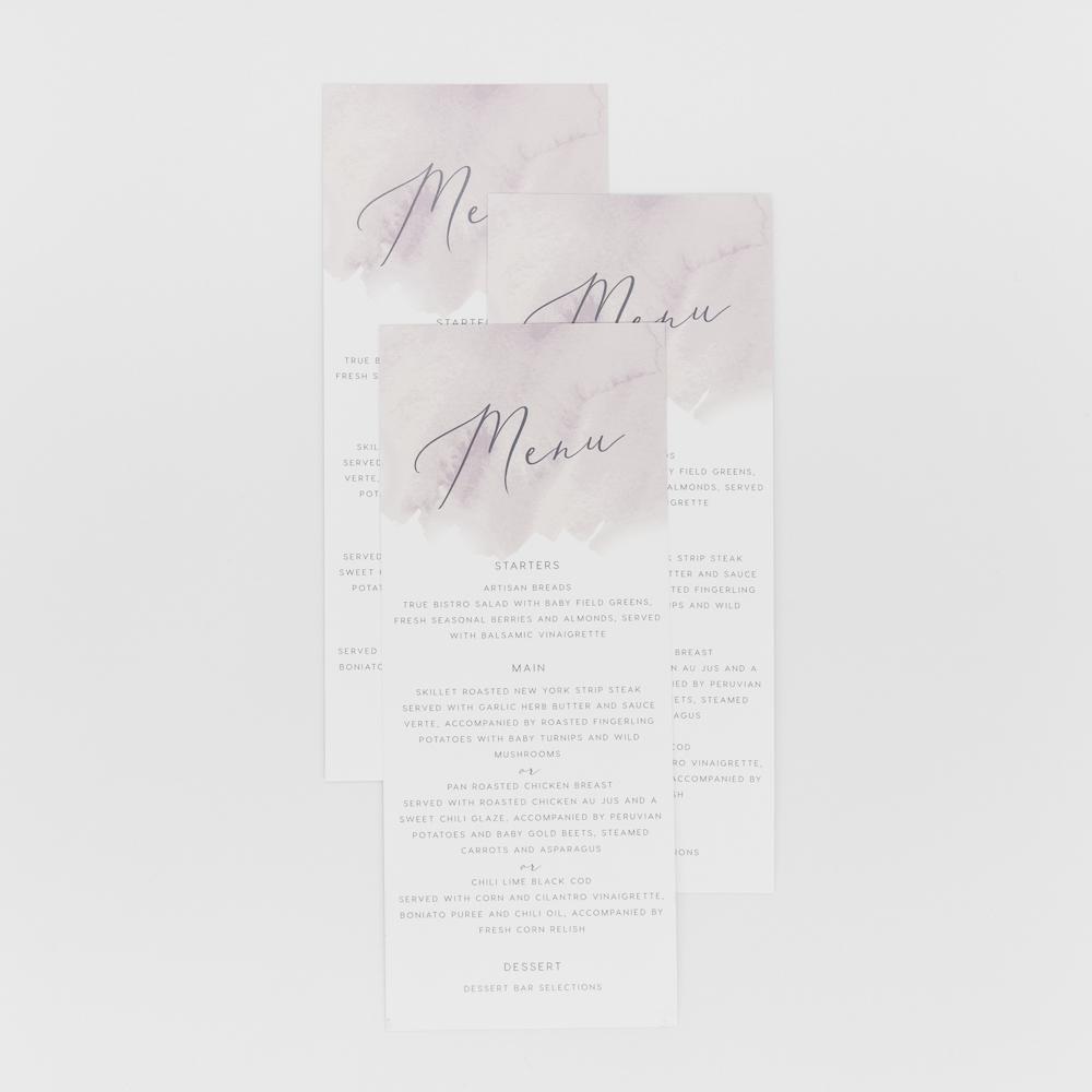 Menu card for gourmet restaurant with scrip text.