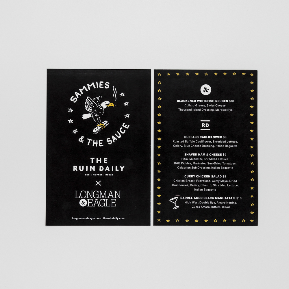 Image of a menu card for The Ruin Daily.