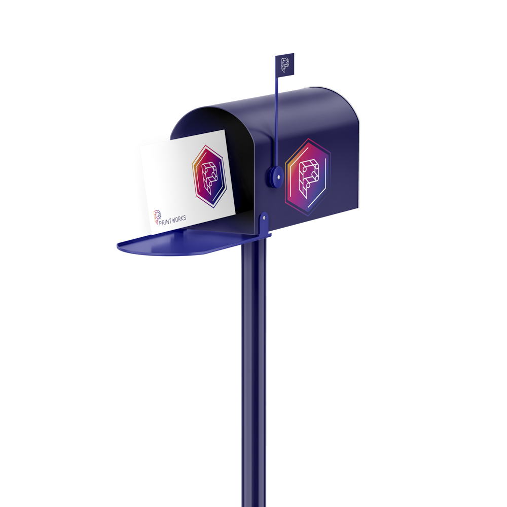 Image of a Printworks branded mailbox with Printworks branded mail inside