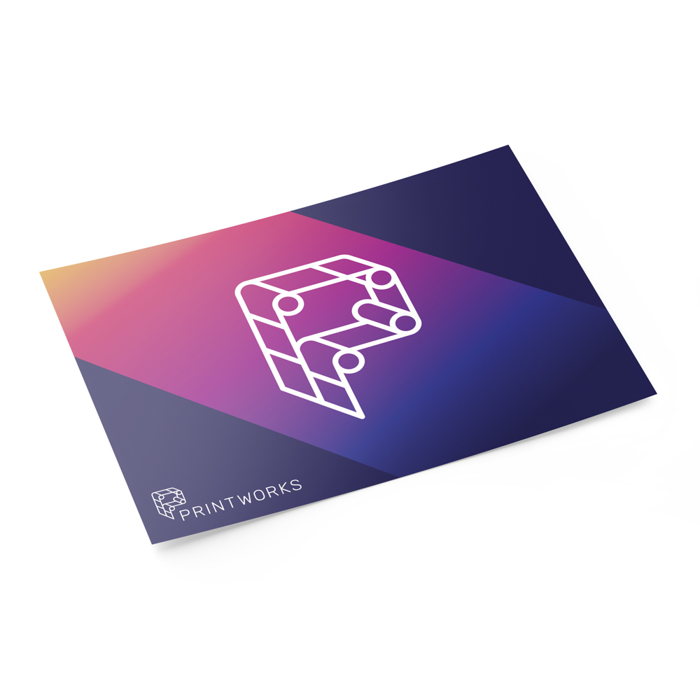 Image of the front of a notecard featuring Printworks branding