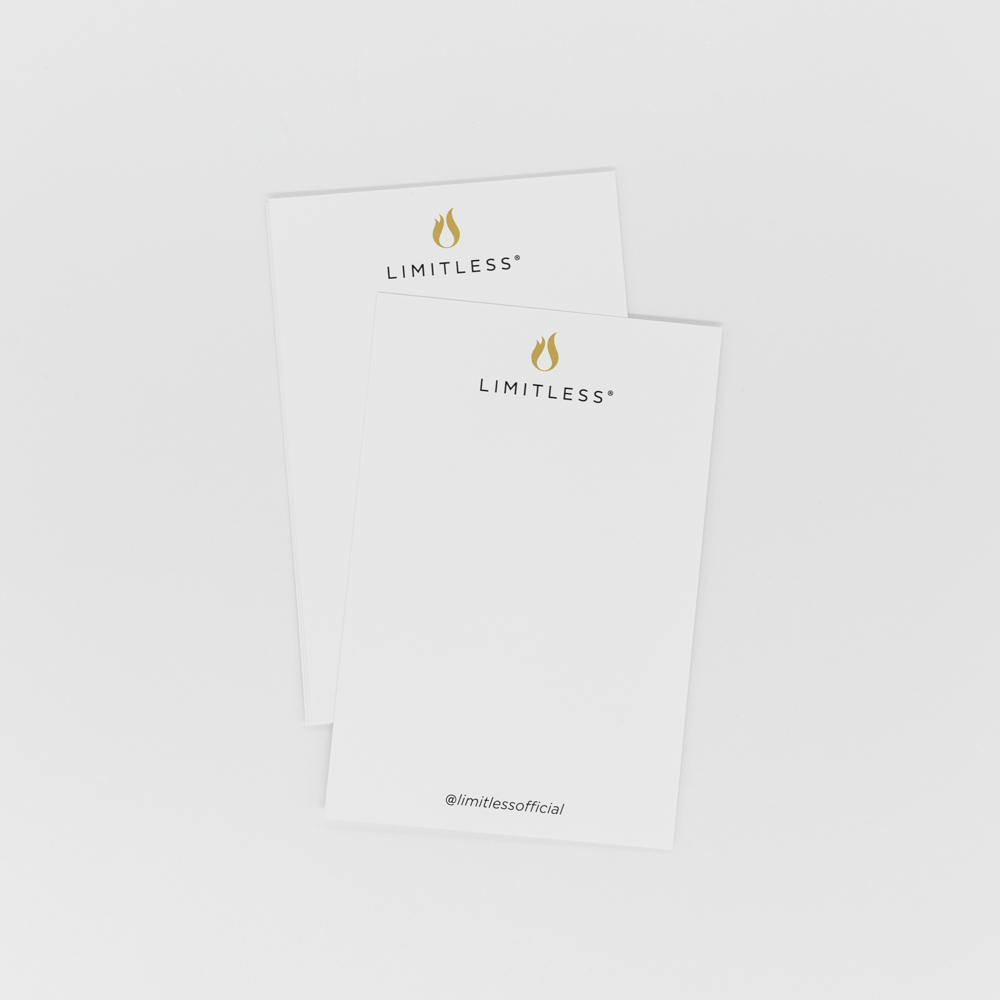 Notecard featuring Limitless Coffee logo.