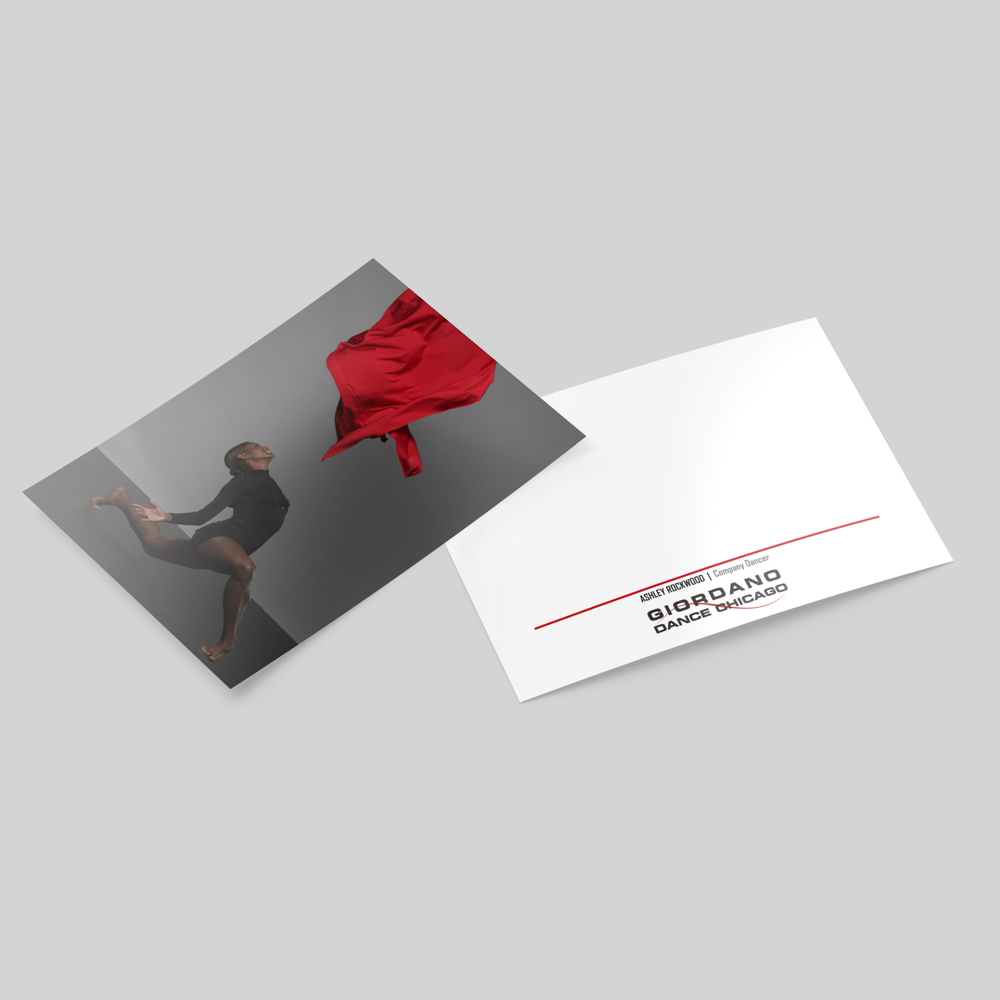Image of a notecard with photo of a dancer on one side and branding on the other side.