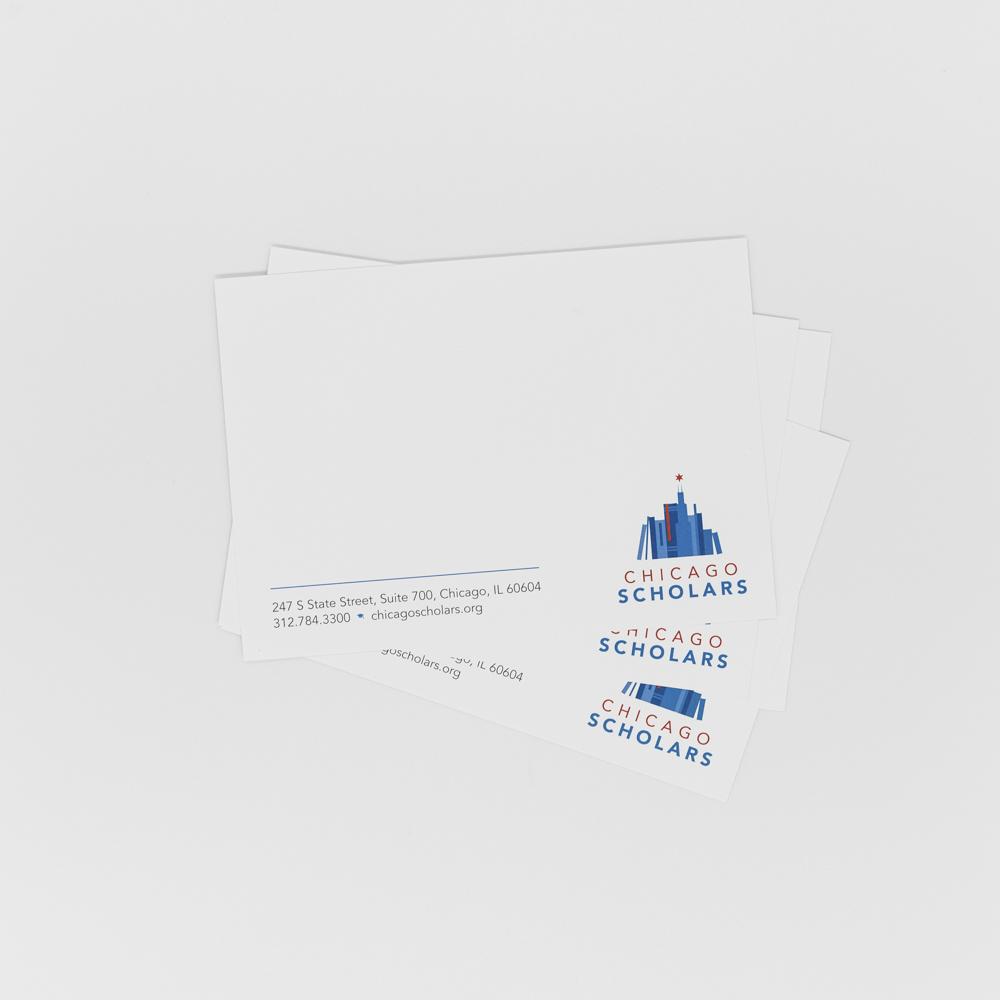 Notecard featuring Chicago Scholars logo.
