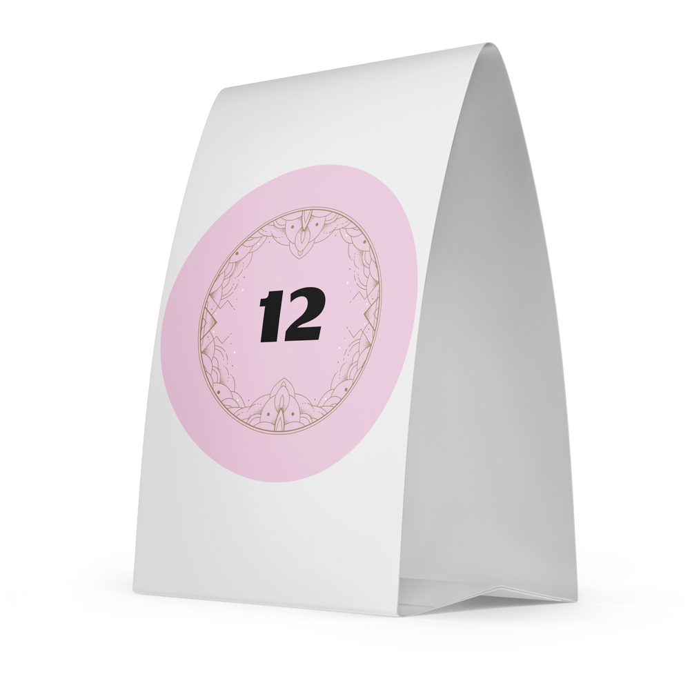 Place card with a pink circle with the number 12 inside of it.