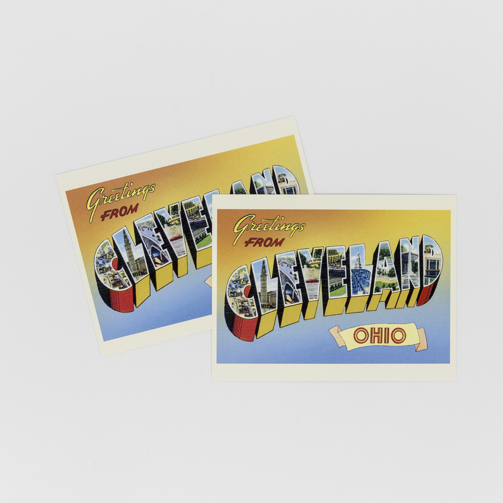 """Postcard with the words """"Greetings from Cleveland Ohio"""" with Cleveland illustrations."""