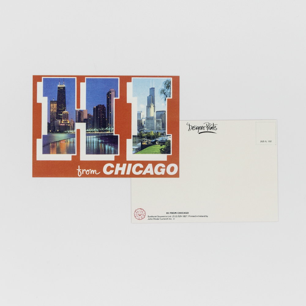 """Postcard with photos of chicago with the text """"Hi from chicago""""."""