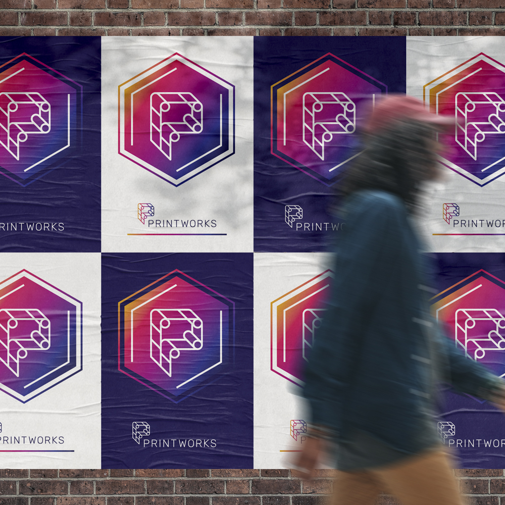 Image of flyers posted on a brick wall, with Printworks branding in alternating colors to create a grid pattern with the flyers