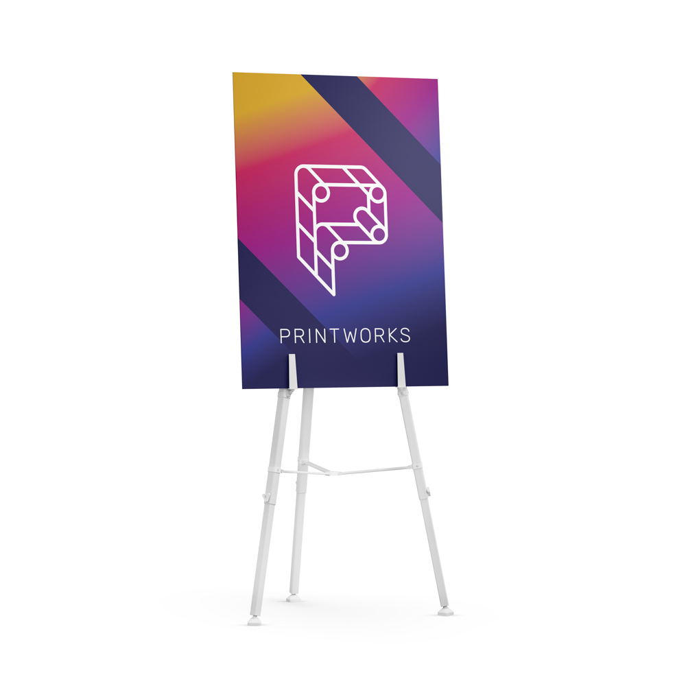 Image of a poster board with Printworks branding, displayed on a stand