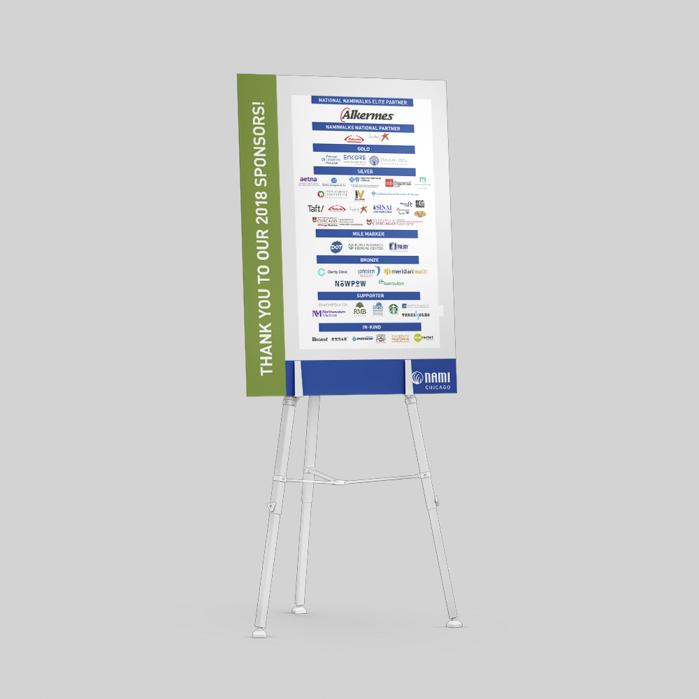 Poster board displaying sponsors for an event.