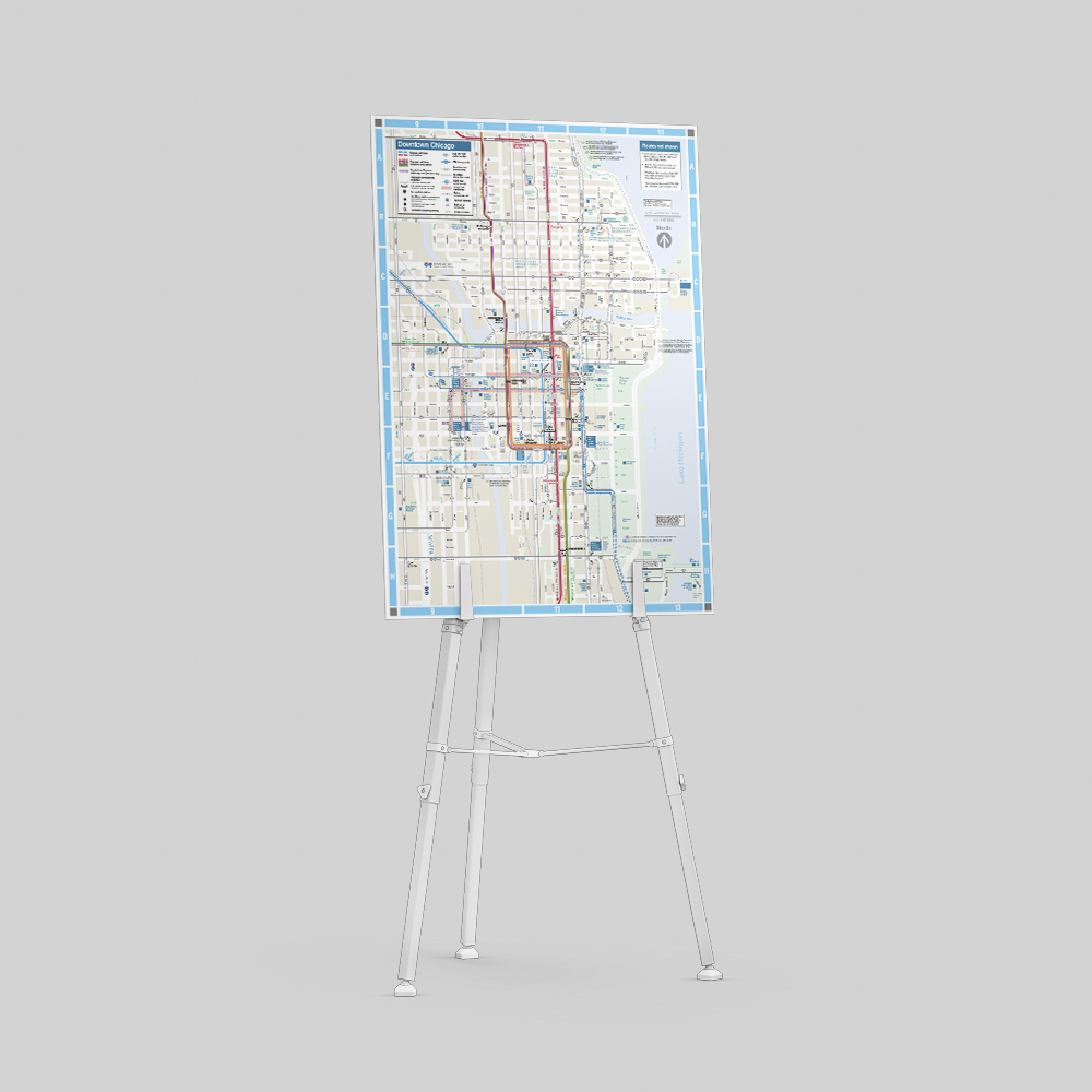 Poster board displaying a city map.