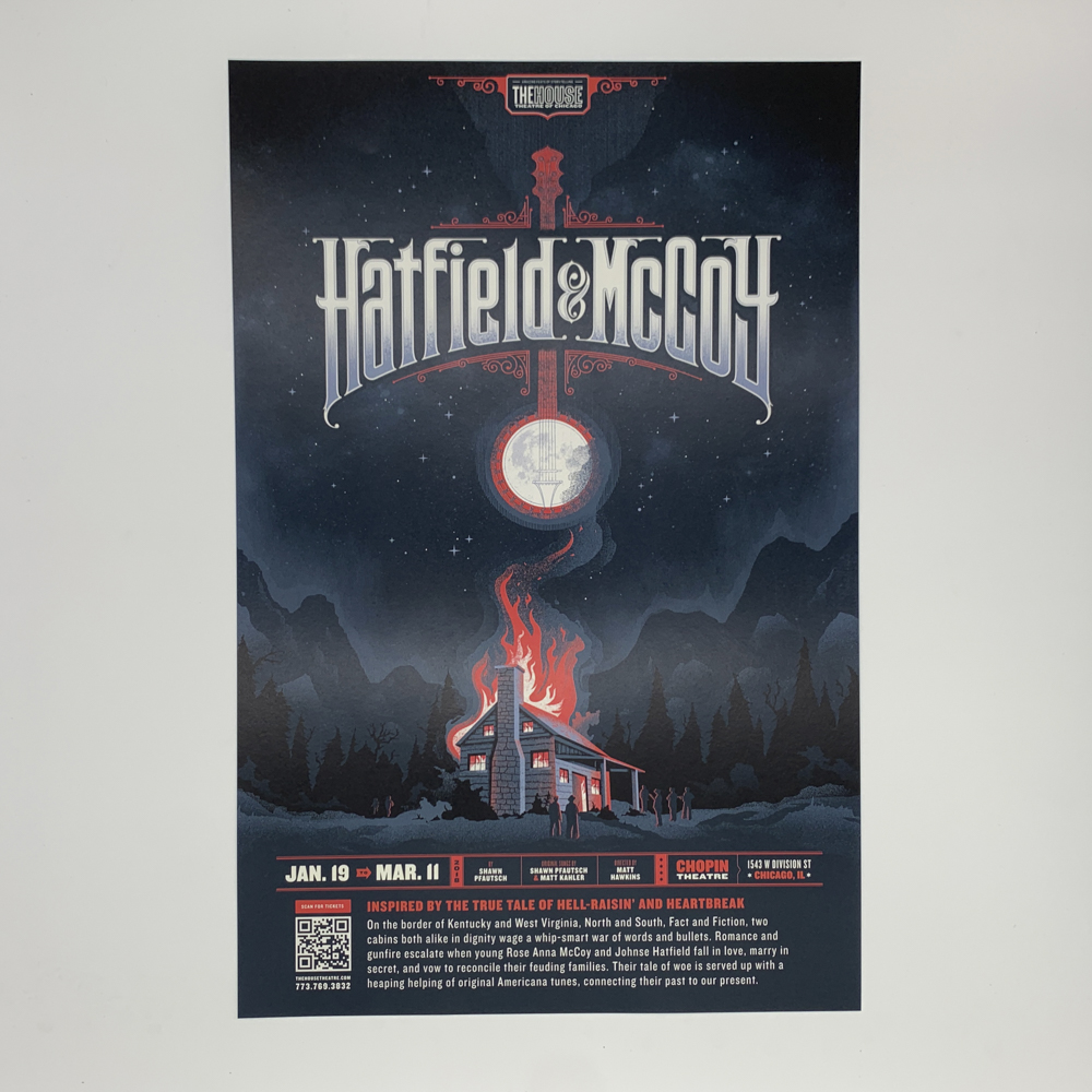 Poster for a theatre performance, featuring an illustration of a burning house.