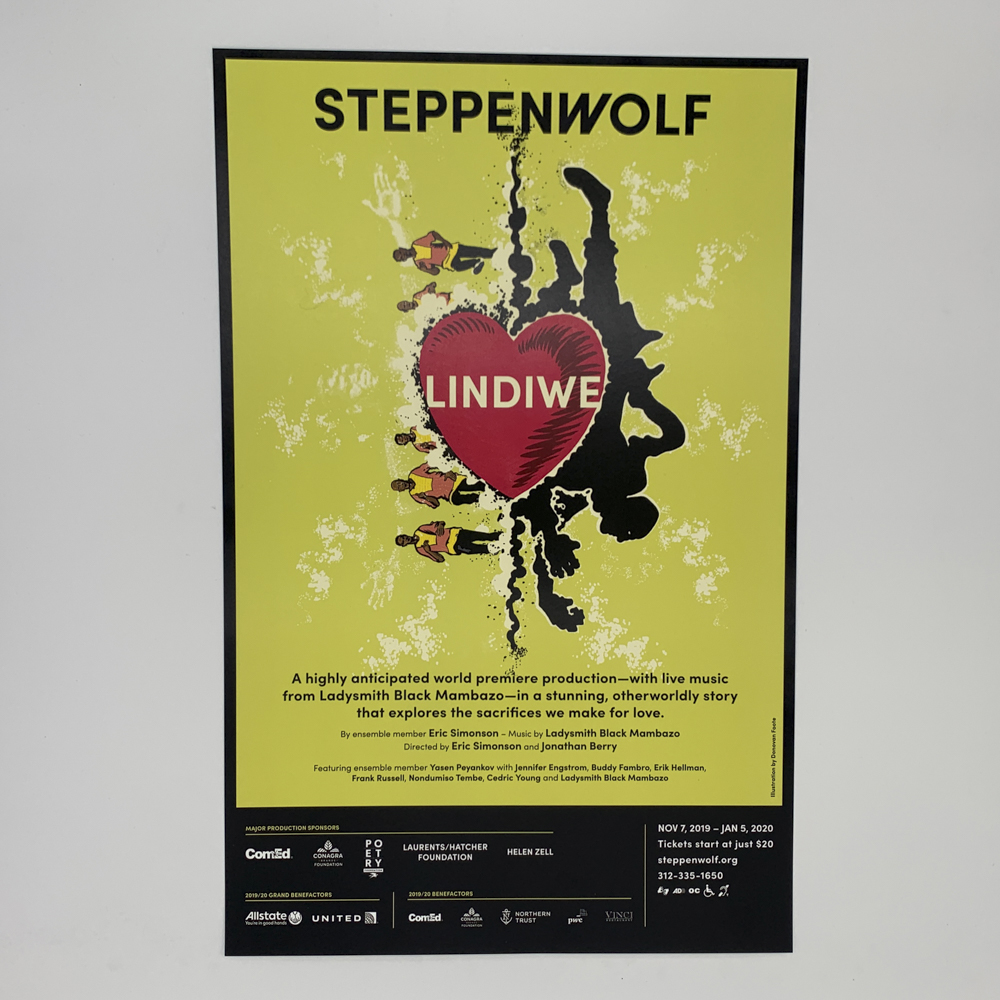 Poster of a theatre performance at steppenwolf theatre featuring an illustration of a heart.