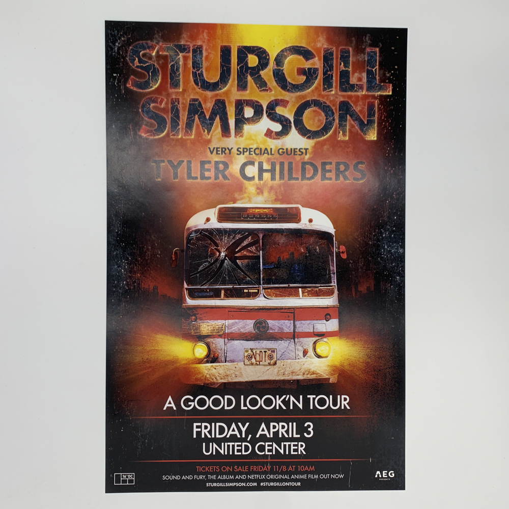 Poster for Sturgill Simpson concert featuring a bus with lights on.