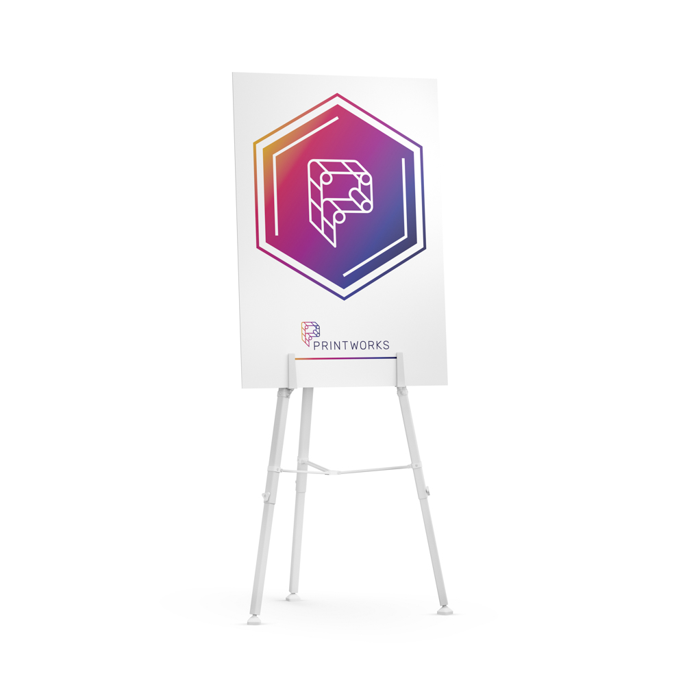 Image of the Printworks logo on a presentation board, sitting on a display stand