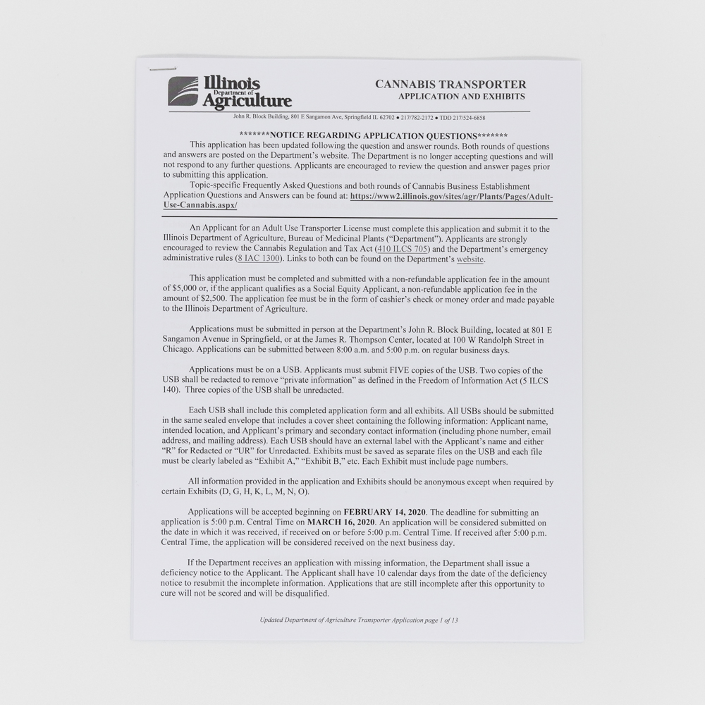 Printed documents featuring a business application.