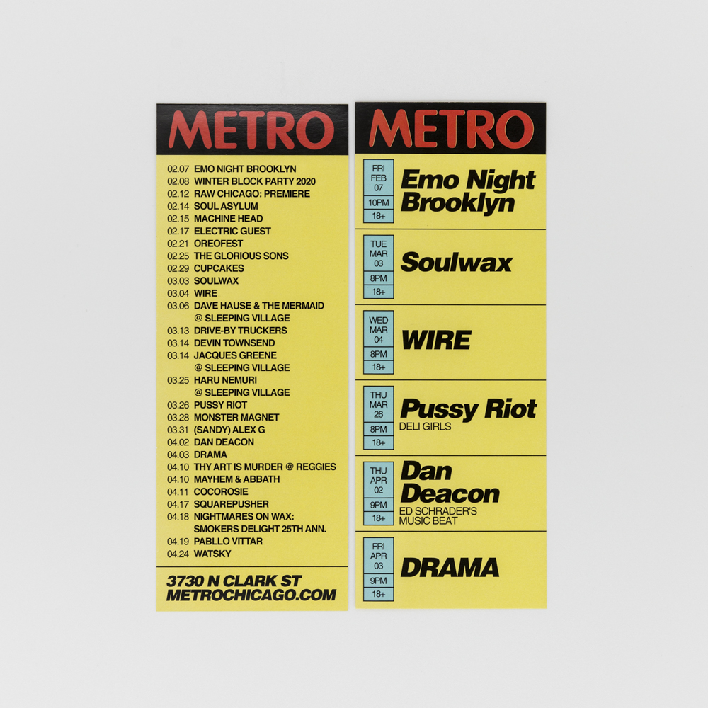Rack cards for Metro rock club.