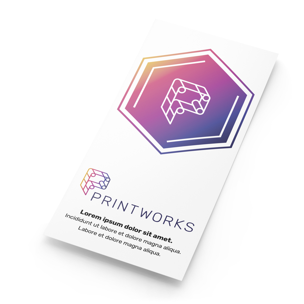 A rack card with Printworks branding and contact information on its front cover