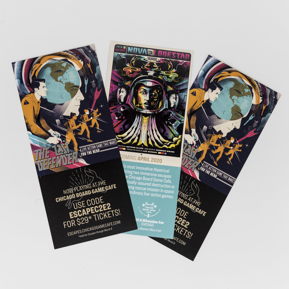 Rack cards for a theatre performance featuring space age artwork.