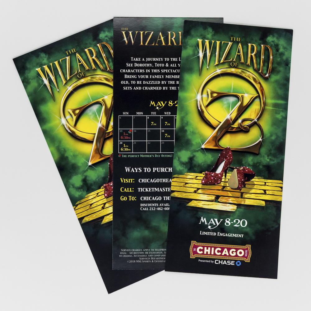Rack card for a theatre performance featuring a green, yellow and black design.