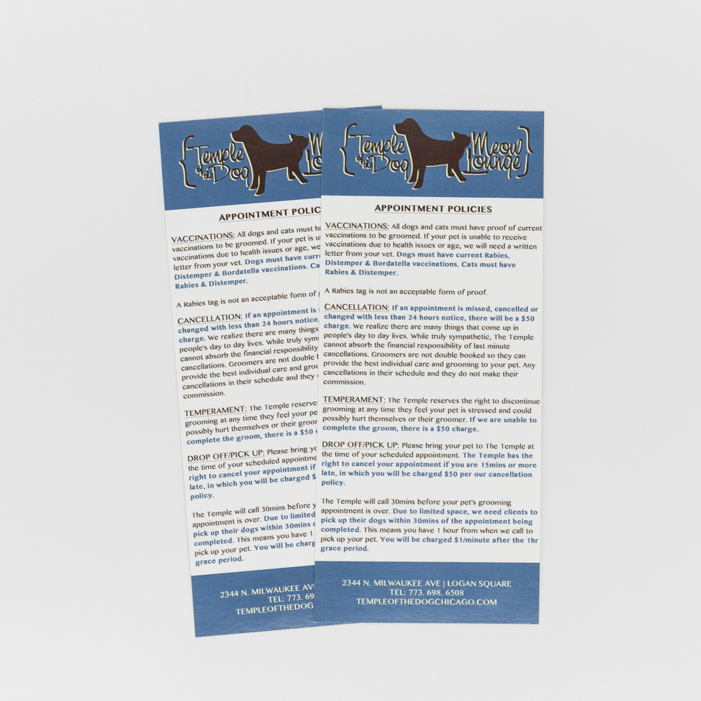 Rack cards for a pet grooming service.
