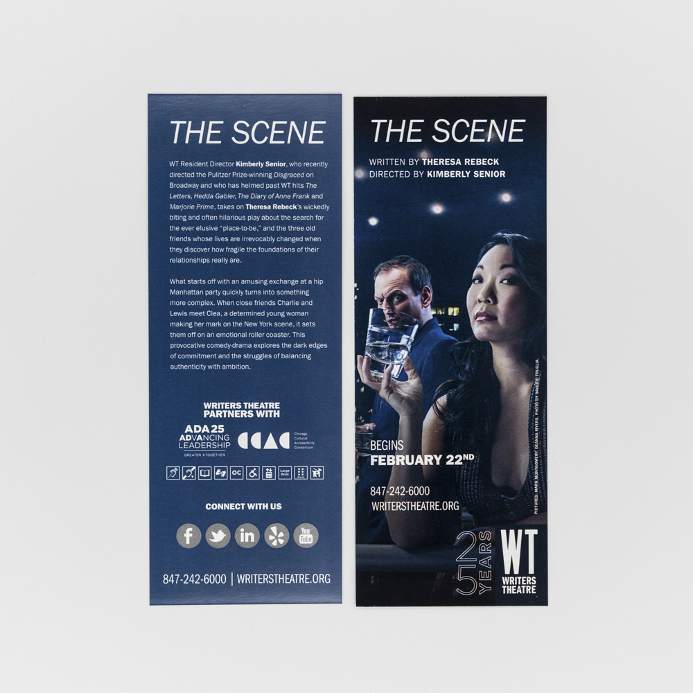 Rack cards for Writers Theatre featuring an image of a woman.