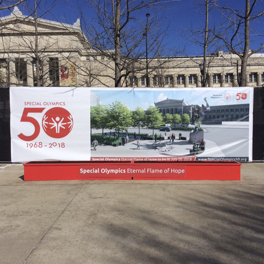Large special olympics retail signage outdoor banner.