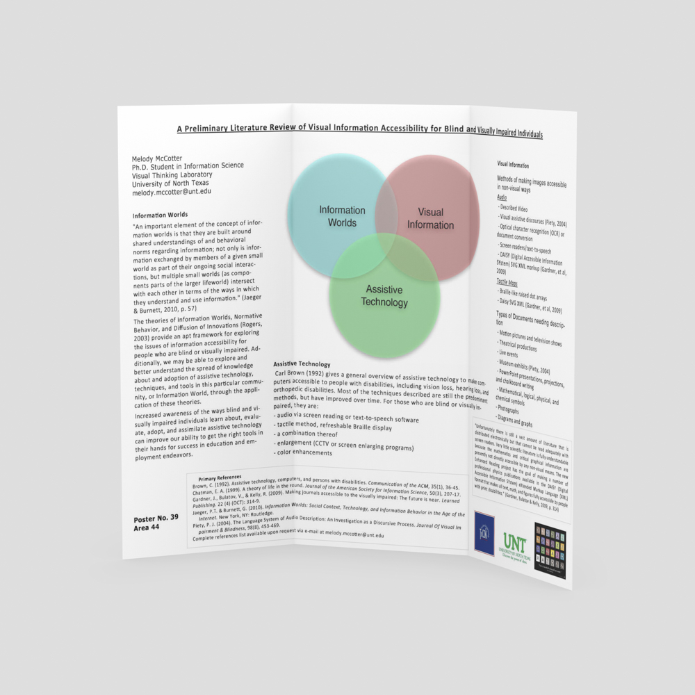 Scientific poster with blind and visually impaired presentation.