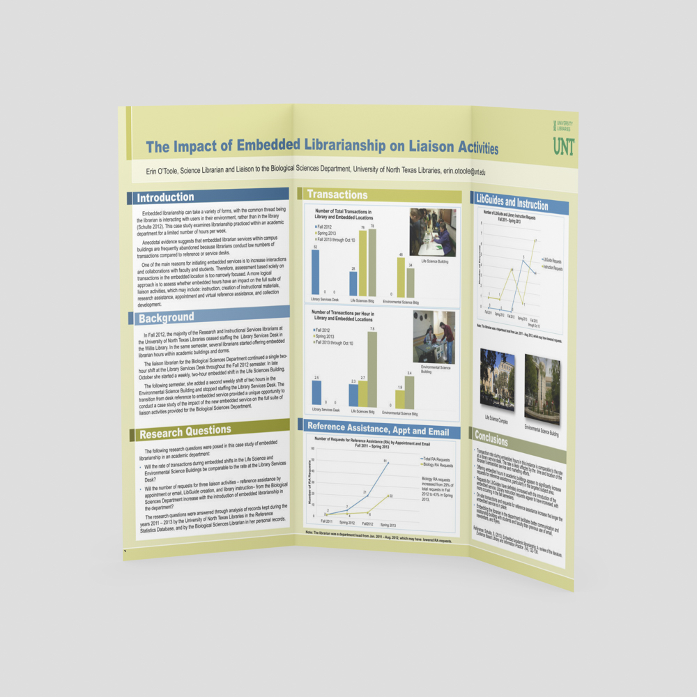 Scientific poster with librarian presentation.