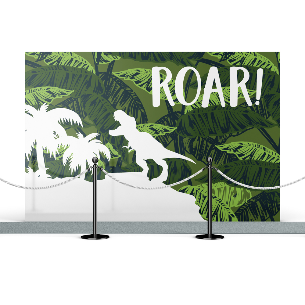 """Step and Repeat backdrop with dinosaur illustration and """"roar"""" text."""