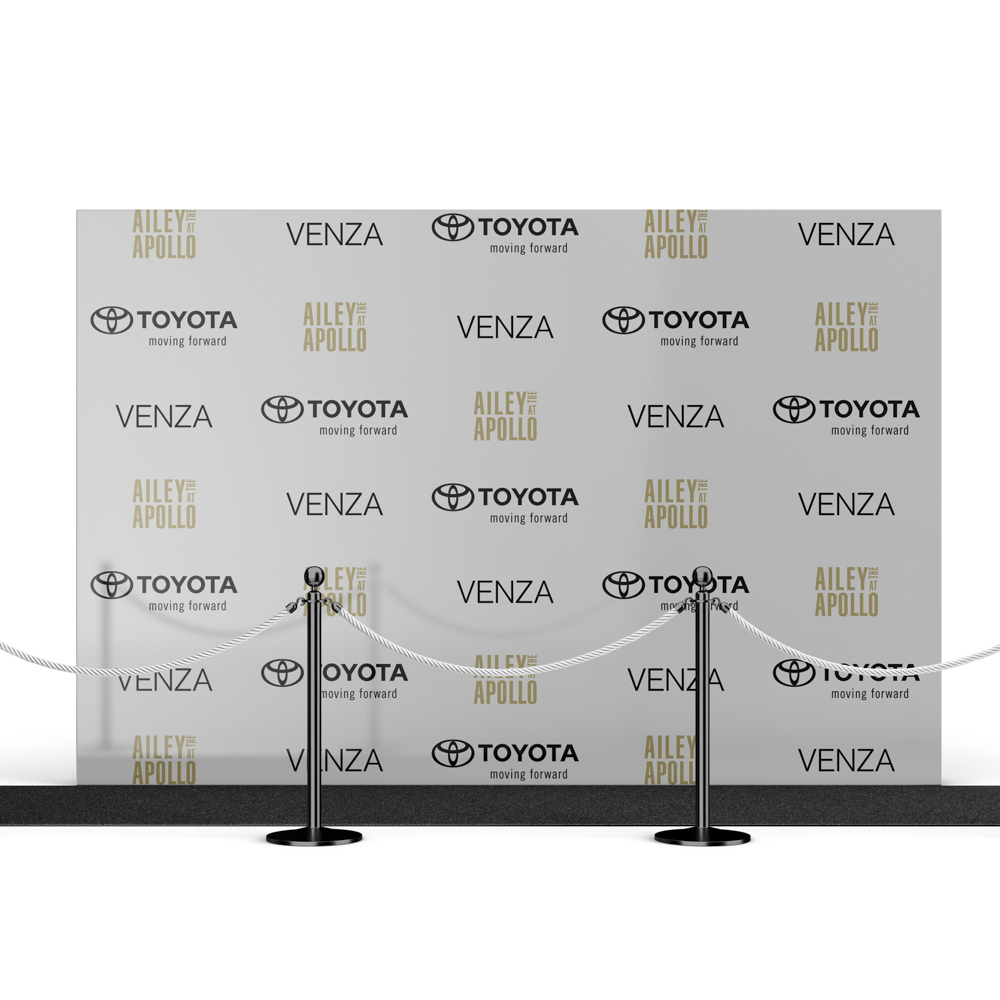 Step and Repeat backdrop featuring brand logos.