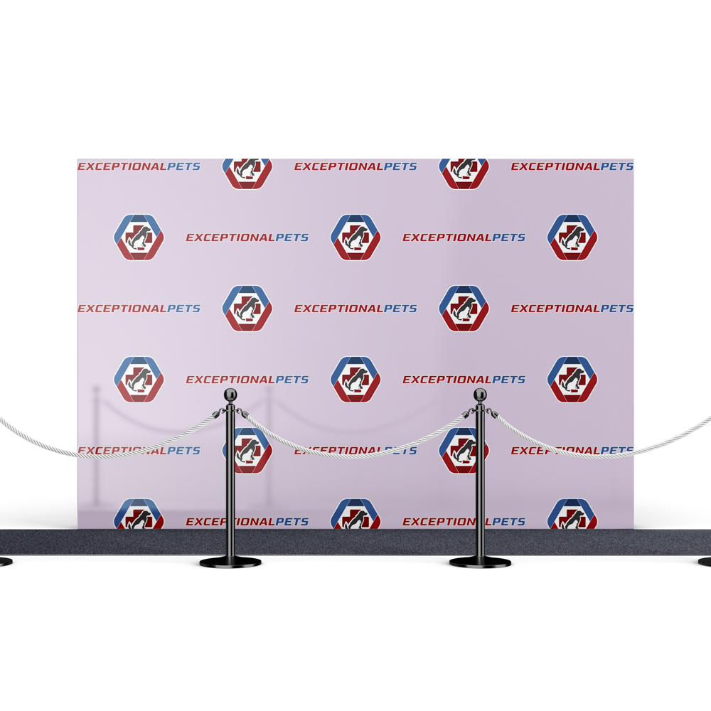 Step and Repeat backdrop for a pet store.