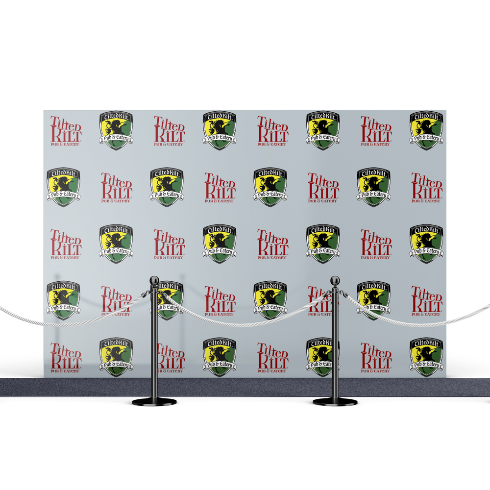 Step and Repeat backdrop with irish pub branding.