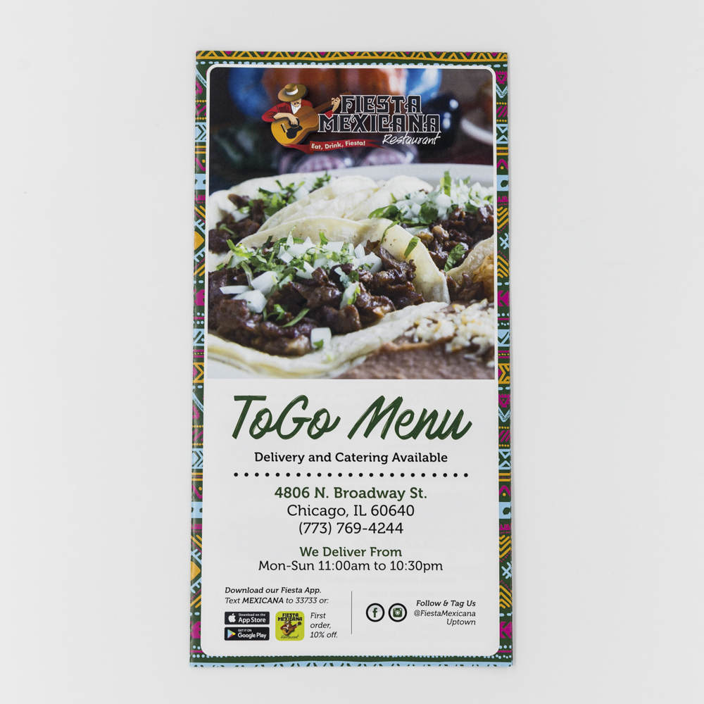Take out menu for Fiesta Mexicana restaurant.