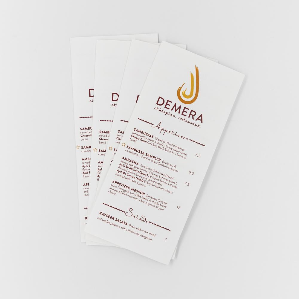 Appetizer menu for Demera restaurant.