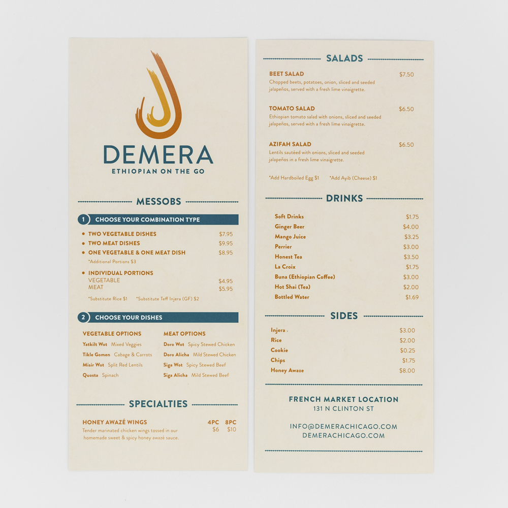 Take out menu for demera restaurant.